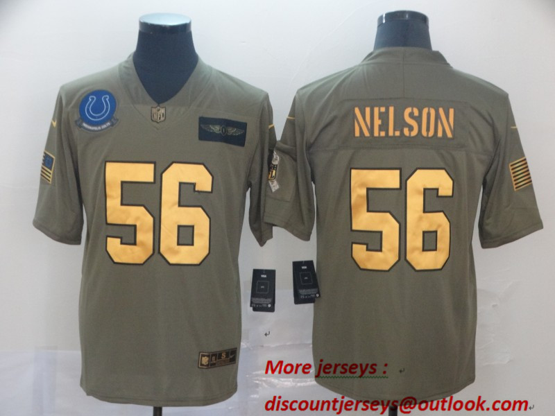 Nike Colts 56 Quenton Nelson 2019 Olive Gold Salute To Service Limited Jersey