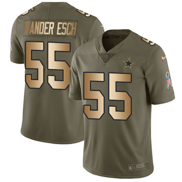 Nike Cowboys #55 Leighton Vander Esch Olive Gold Youth Stitched NFL Limited 2017 Salute to Service Jersey