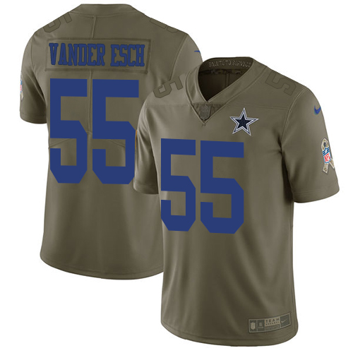 Nike Cowboys #55 Leighton Vander Esch Olive Youth Stitched NFL Limited 2017 Salute to Service Jersey