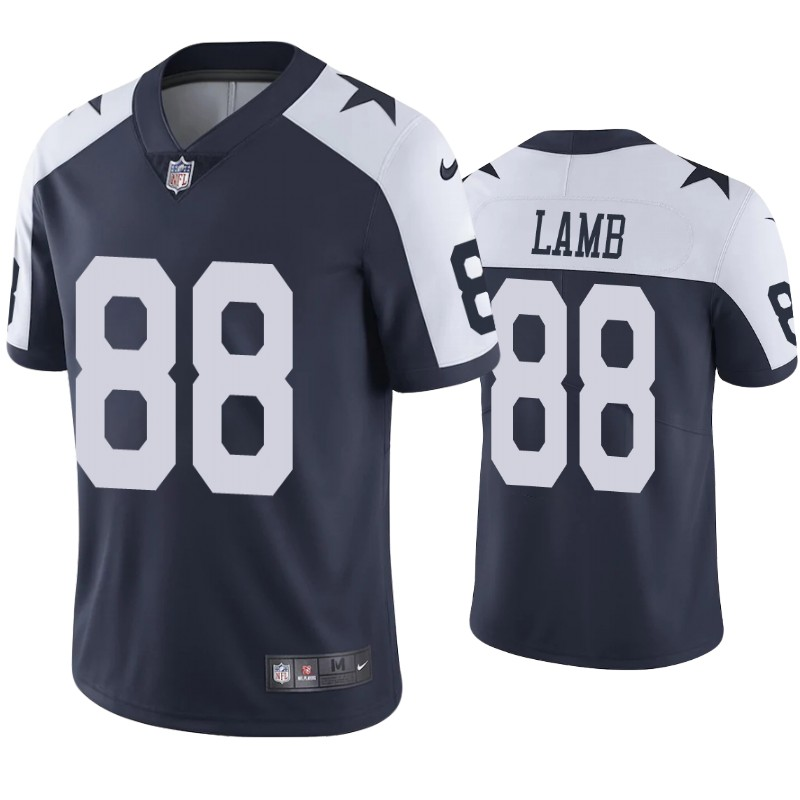 Nike Cowboys #88 CeeDee Lamb Navy Blue Thanksgiving Men's Stitched NFL Vapor Untouchable Limited Throwback Jersey