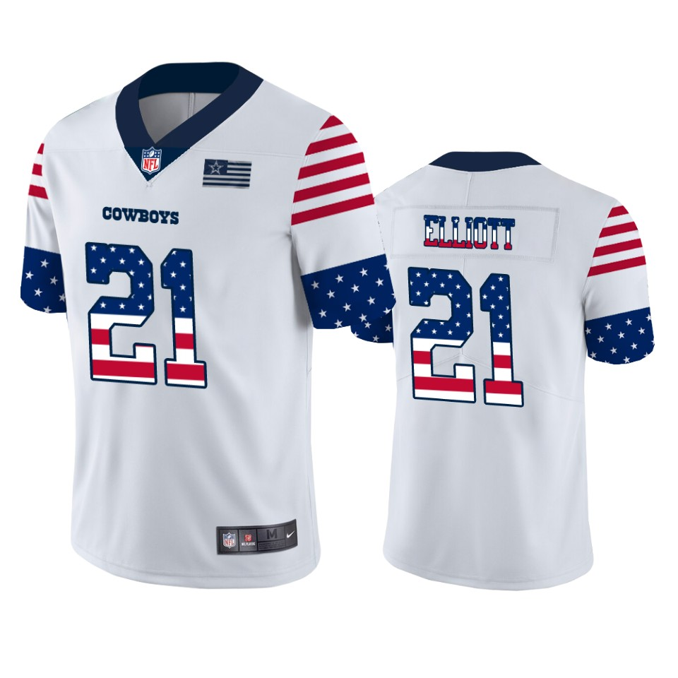 Nike Cowboys 21 Ezekiel Elliott White USA Flag Fashion Limited Jersey