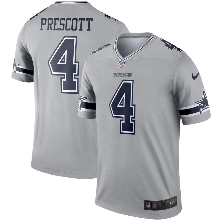 Nike Cowboys 4 Dak Prescott Gray Inverted Legend Jersey
