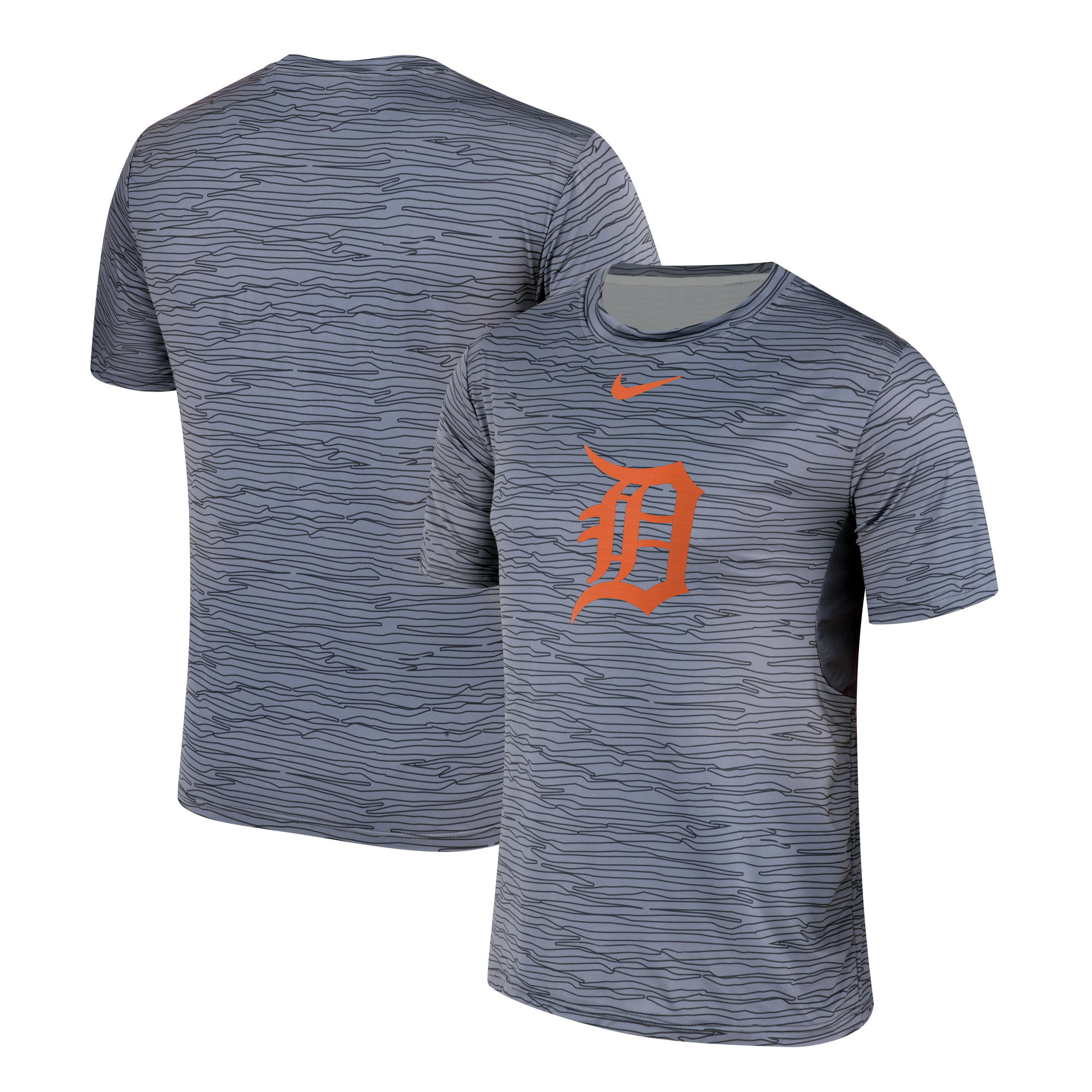 Nike Detroit Tigers Gray Black Striped Logo Performance T-Shirt