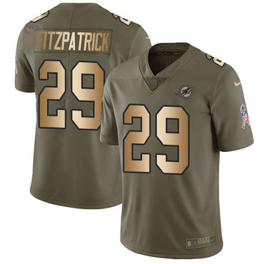 Nike Dolphins #29 Minkah Fitzpatrick Olive Gold Youth Stitched NFL Limited 2017 Salute to Service Jersey