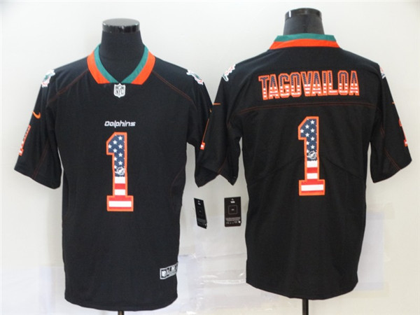 Nike Dolphins 1 Tua Tagovailoa Black USA Flag Fashion Limited Jersey
