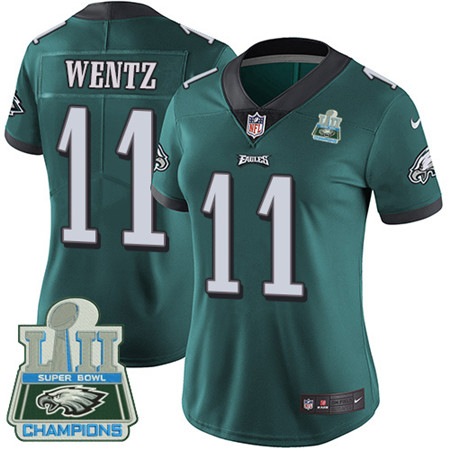 Nike Eagles #11 Carson Wentz Midnight Green Team Color Super Bowl LII Champions Women's Stitched NFL Vapor Untouchable Limited Jersey