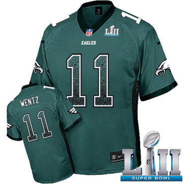 Nike Eagles #11 Carson Wentz Midnight Green Team Color Super Bowl LII Youth Stitched NFL Elite Drift Fashion Jersey