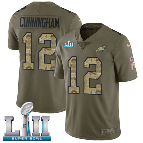 Nike Eagles #12 Randall Cunningham Olive Camo Super Bowl LII Youth Stitched NFL Limited 2017 Salute to Service Jersey