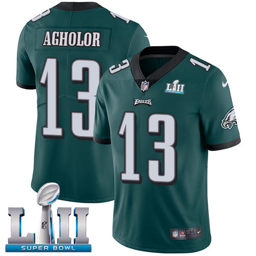 Nike Eagles #13 Nelson Agholor Midnight Green Team Color Super Bowl LII Youth Stitched NFL Vapor Untouchable Limited Jersey