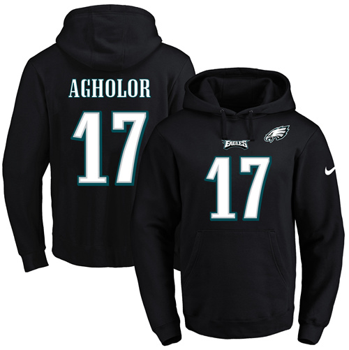 sports shoes 554fb d923f Nike Eagles #17 Nelson Agholor Black Name & Number Pullover ...