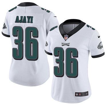 Nike Eagles #36 Jay Ajayi White Women's Stitched NFL Vapor Untouchable Limited Jersey