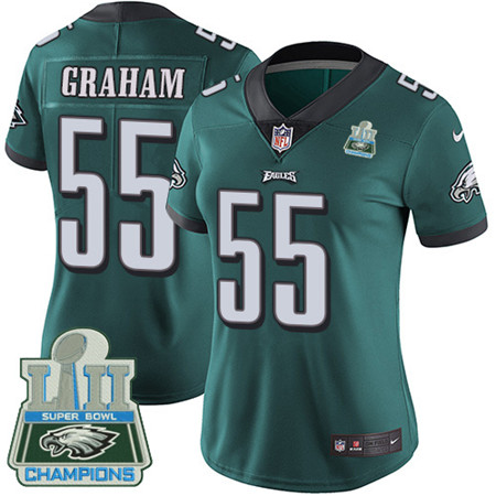 Nike Eagles #55 Brandon Graham Midnight Green Team Color Super Bowl LII Champions Women's Stitched NFL Vapor Untouchable Limited Jersey
