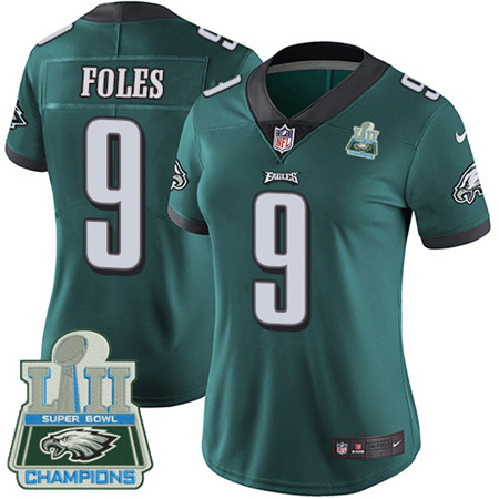 Nike Eagles #9 Nick Foles Midnight Green Team Color Super Bowl LII Champions Women's Stitched NFL Vapor Untouchable Limited Jersey