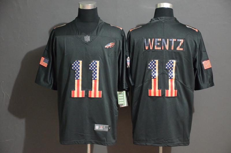 Nike Eagles 11 Carson Wentz 2019 Black Salute To Service USA Flag Fashion Limited Jersey