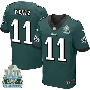 Nike Eagles 11 Carson Wentz Green 2018 Super Bowl Champions Elite Jersey