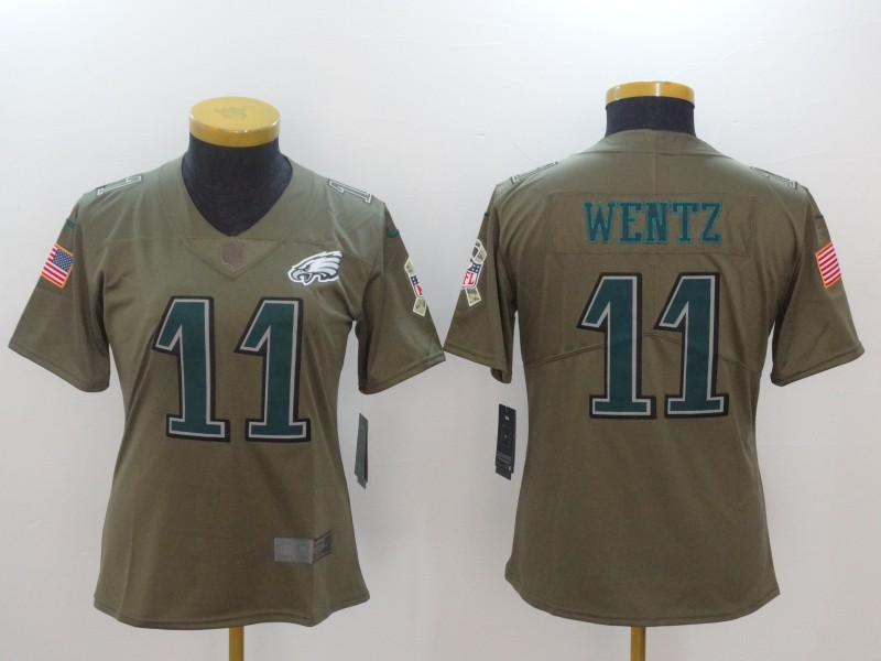 Nike Eagles 11 Carson Wentz Olive Women Salute To Service Limited Jersey