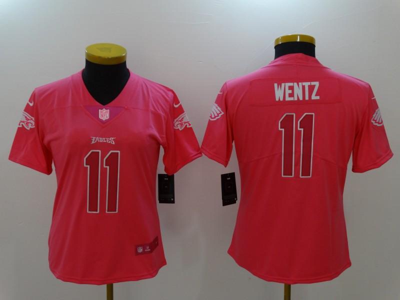 Nike Eagles 11 Carson Wentz Pink Fashion Women Limited Jersey