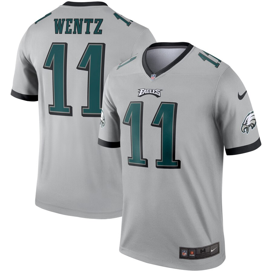 Nike Eagles 11 Carson Wentz Silver Inverted Legend Jersey