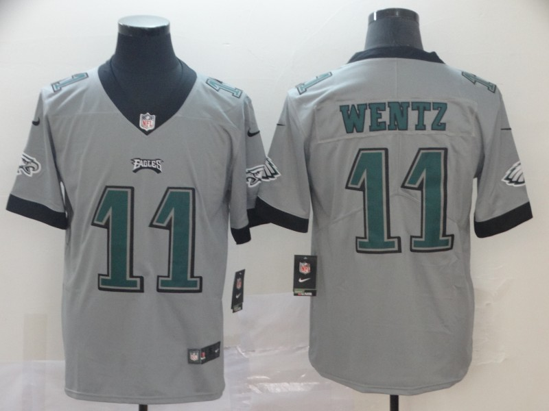 Nike Eagles 11 Carson Wentz Silver Inverted Legend Limited Jersey