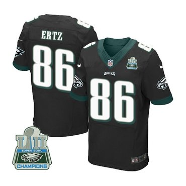 Nike Eagles 86 Zach Ertz Black 2018 Super Bowl Champions Elite Jersey