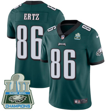 Nike Eagles 86 Zach Ertz Green 2018 Super Bowl Champions Vapor Untouchable Player Limited Jersey
