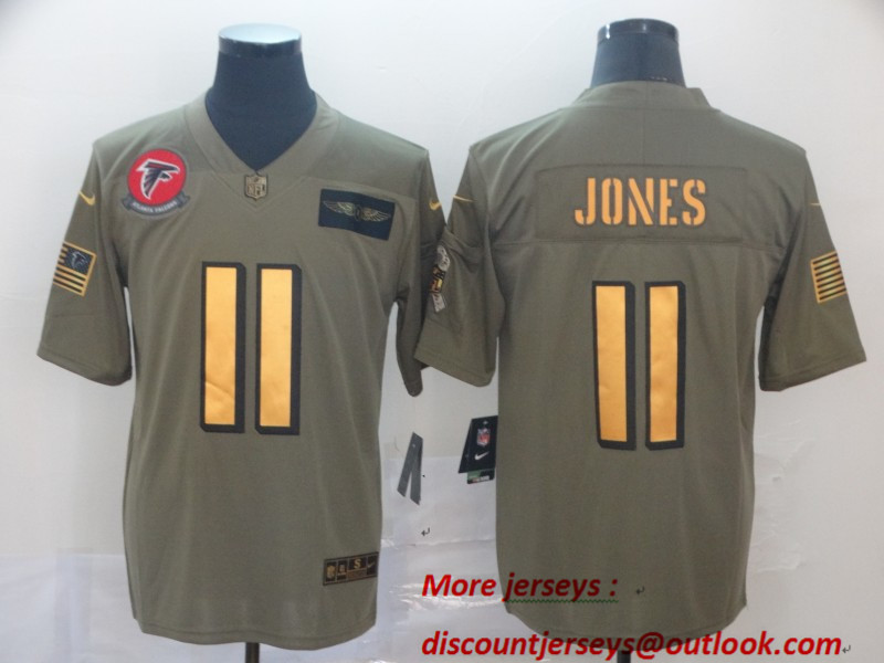 Nike Falcons 11 Julio Jones 2019 Olive Gold Salute To Service Limited Jersey