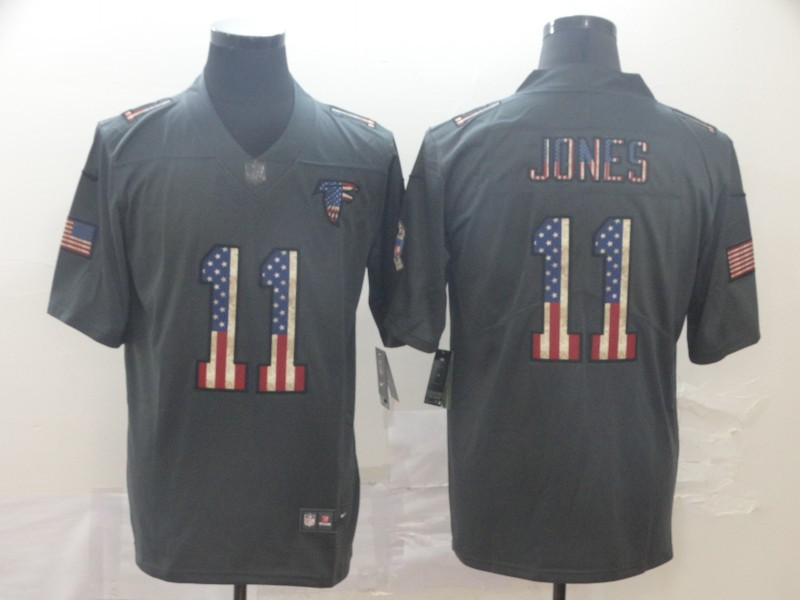 Nike Falcons 11 Julio Jones 2019 Salute To Service USA Flag Fashion Limited Jersey