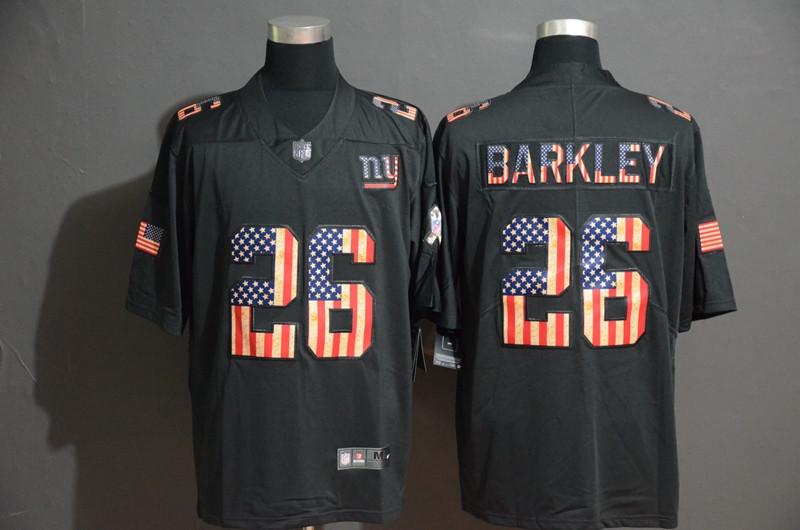 Nike Giants 26 Saquon Barkley 2019 Black Salute To Service USA Flag Fashion Limited Jersey
