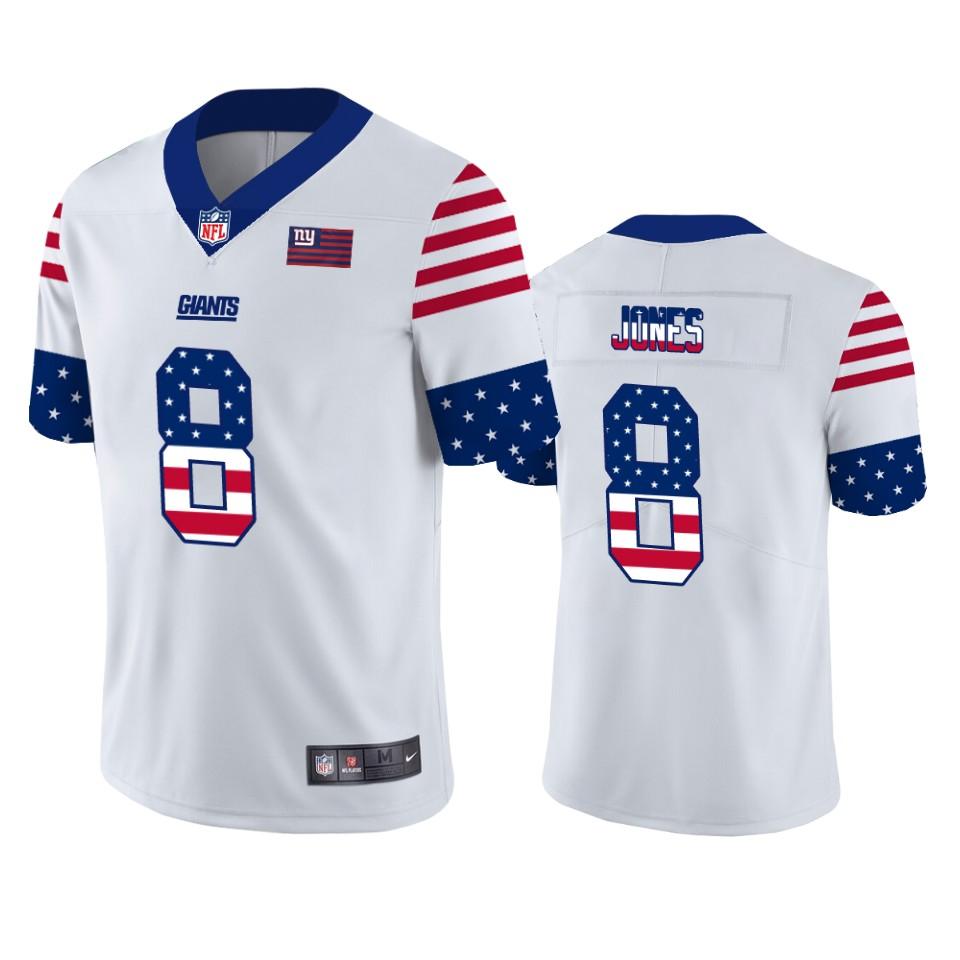Nike Giants 8 Daniel Jones White USA Flag Fashion Limited Jersey