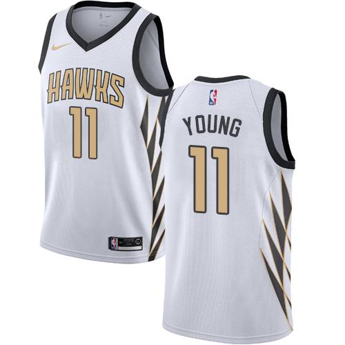 Nike Hawks #11 Trae Young White NBA Swingman City Edition 2018 19 Jersey