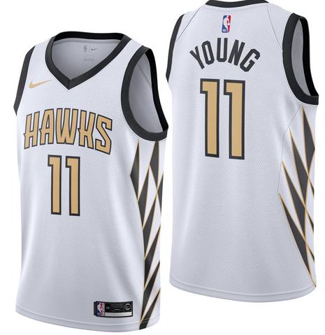 Nike Hawks 11 Trae Young White 2018-19 City Edition Nike Swingman Jersey