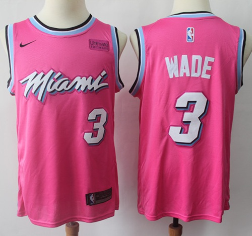 Nike Heat #3 Dwyane Wade Pink NBA Swingman Earned Edition Jersey