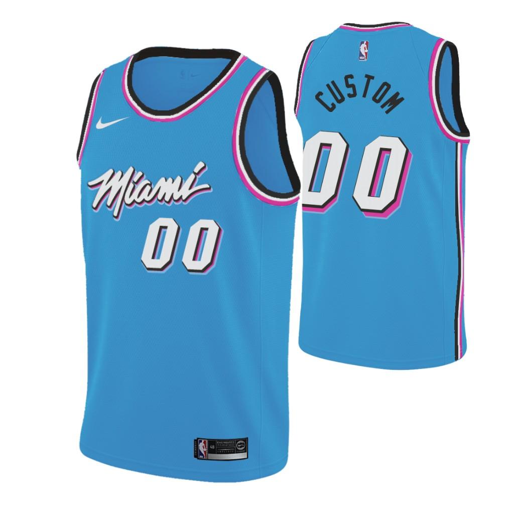 Nike Heat Custom 2019-20 Men's Blue Miami City Edition NBA Jersey