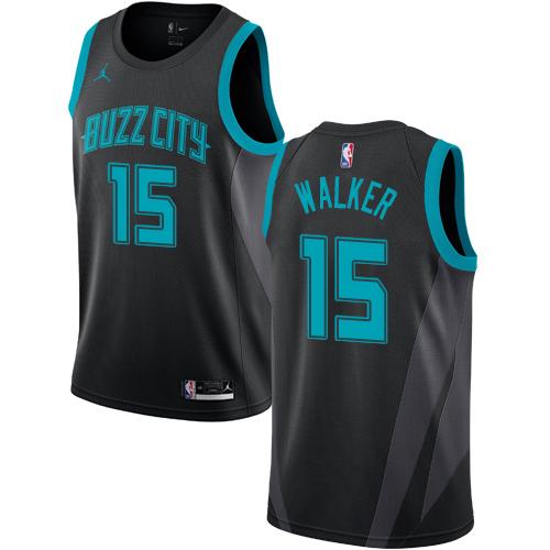 Nike Hornets #15 Kemba Walker Black NBA Jordan Swingman City Edition 2018 19 Jersey