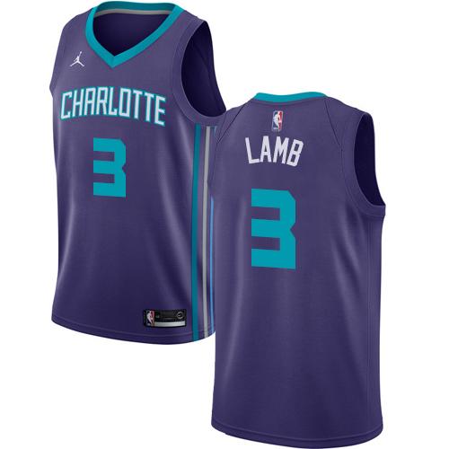 Nike Hornets #3 Jeremy Lamb Purple NBA Jordan Swingman Statement Edition Jersey