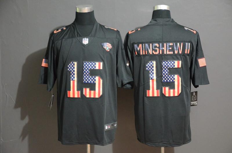 Nike Jaguars 15 Gardner Minshew II 2019 Black Salute To Service USA Flag Fashion Limited Jersey