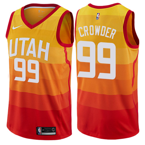 Nike Jazz #99 Jae Crowder Orange NBA Swingman City Edition Jersey