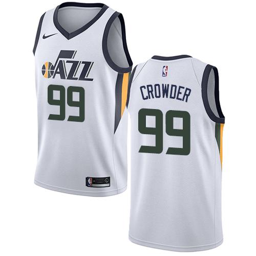 Nike Jazz #99 Jae Crowder White NBA Swingman Association