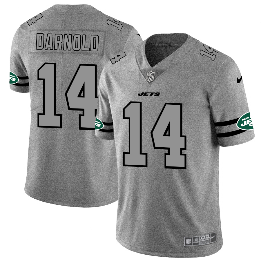 Nike Jets 14 Sam Darnold 2019 Gray Gridiron Gray Vapor Untouchable Limited Jersey