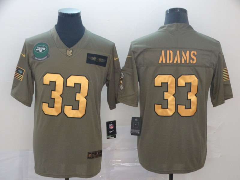 Nike Jets 33 Jamal Adams 2019 Olive Gold Salute To Service Limited Jersey