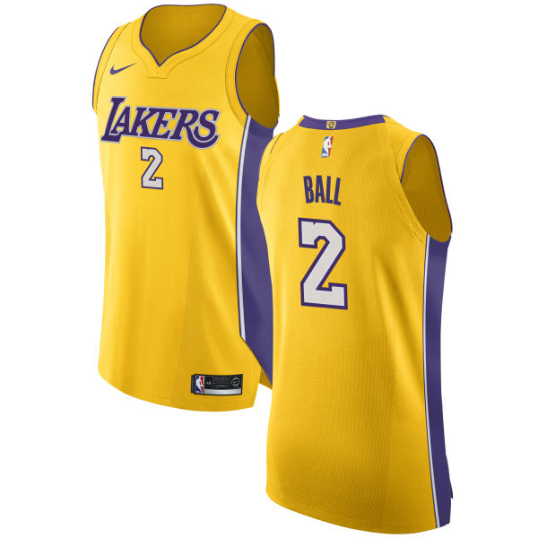 new concept 44d6f a3dee Nike Lakers #2 Lonzo Ball Gold NBA Authentic Icon Edition ...
