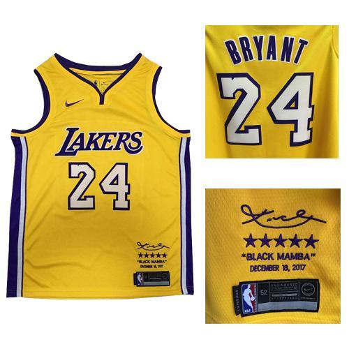 Nike Lakers #24 Kobe Bryant Gold NBA Swingman Black Mamba December 18. 2017 Jersey