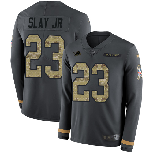 Nike Lions #23 Darius Slay Jr Anthracite Salute to Service Men's Stitched NFL Limited Therma Long Sleeve Jersey