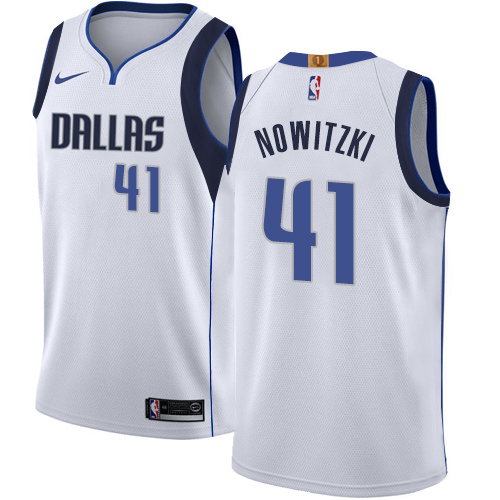 Nike Mavericks #41 Dirk Nowitzki White NBA Swingman Association Edition Jersey