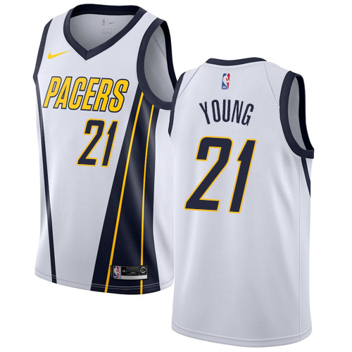 Nike Pacers #21 Thaddeus Young White NBA Swingman Earned Edition Jersey