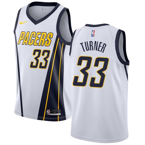 Nike Pacers #33 Myles Turner White NBA Swingman Earned Edition Jersey