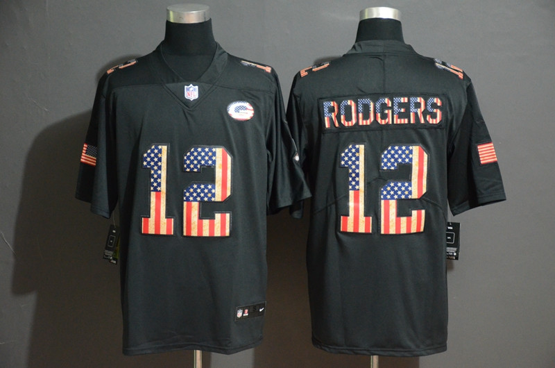 Nike Packers 12 Aaron Rodgers 2019 Black Salute To Service USA Flag Fashion Limited Jersey