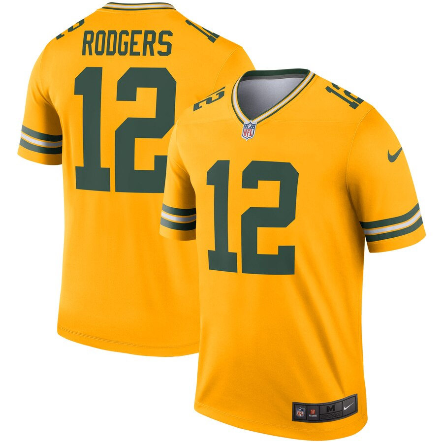 Nike Packers 12 Aaron Rodgers Gold Inverted Legend Jersey