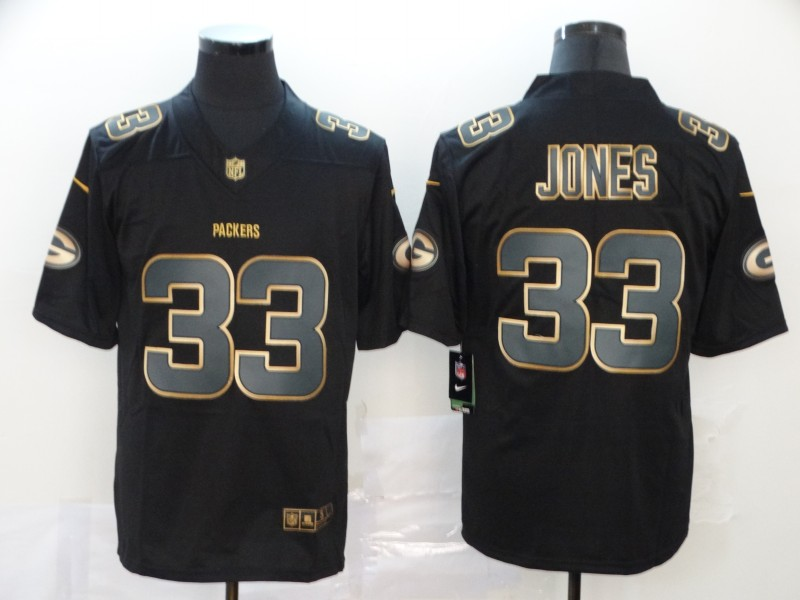 Nike Packers 33 Aaron Jones Black Gold Vapor Untouchable Limited Jersey