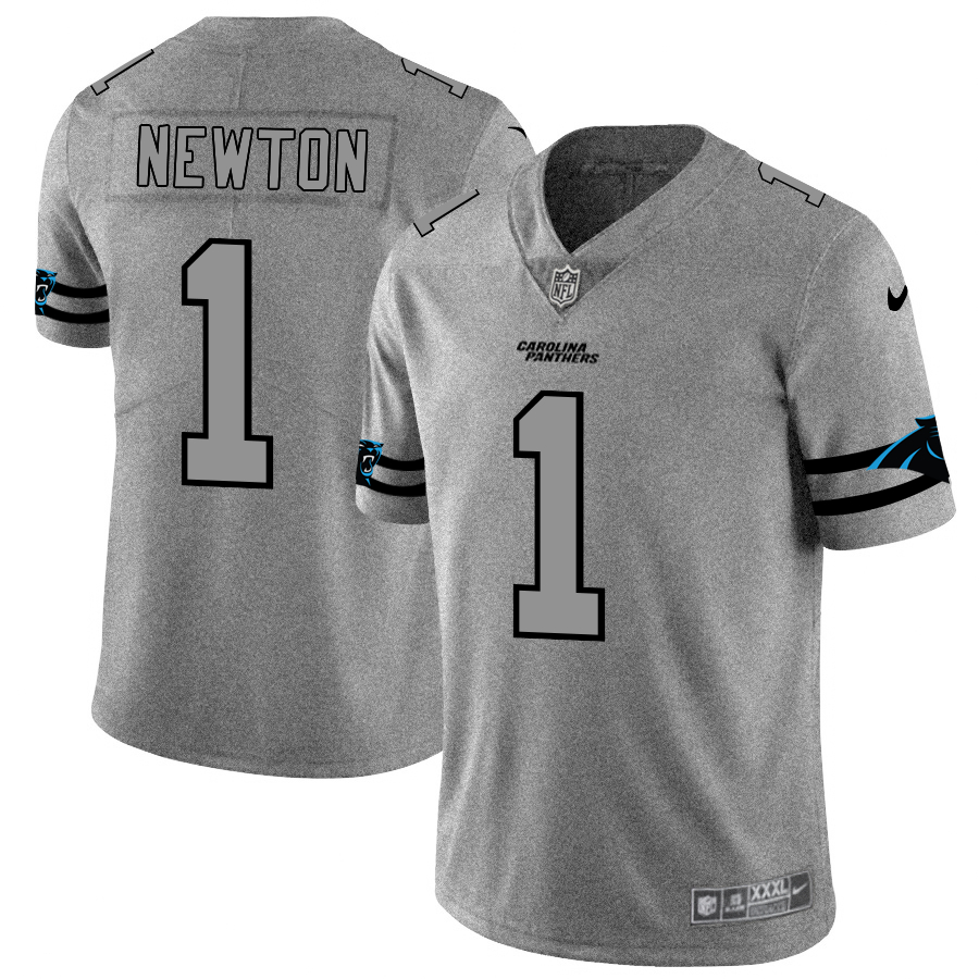 Nike Panthers 1 Cam Newton 2019 Gray Gridiron Gray Vapor Untouchable Limited Jersey